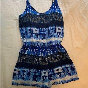Blue patterned romper
